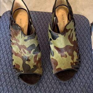 Nine West Camo calf hair heels